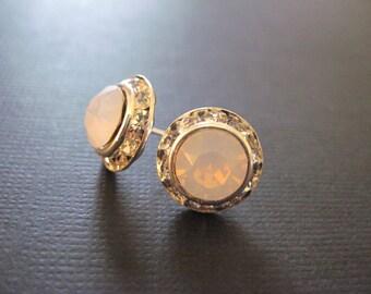 Crystal Studs/ Rose Water Opal Swarovski Crystal Stud Earrings/ Opal r/Bridesmaid Jewelry/ Wedding Jewelry/Crystal Halo Earrings