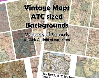 Vintage Map Digital Collage Sheet - great for ATC backgrounds, card making, tags etc - Instant Download