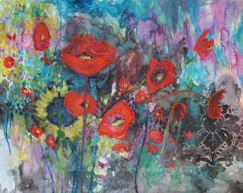 "Archival Print of Original Watercolor ""Bouquet of Poppies"""