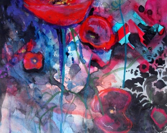 "Archival Print of Original Watercolor ""Opium Poppy"""