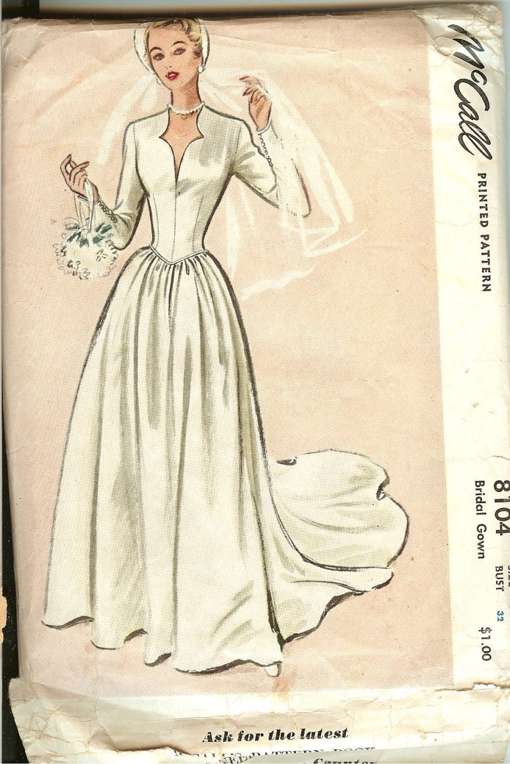Vintage 1950 39 s mccall 39 s wedding gown pattern by for Wedding dress patterns vintage