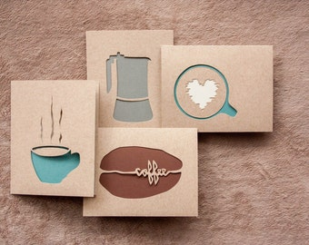 Coffee Card Set (4): Laser cut Stationery