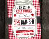 Barbecue Invitation, Barbeque, BBQ, Picnic, Holiday, Vintage, Red White Check Gingham Plaid - PicnicCountry, Rustic (DIY Digital Printable)