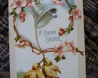 Ring the Bell for Easter.  Vintage postcard featuring baby chicks, apple blossoms and a silver bell.