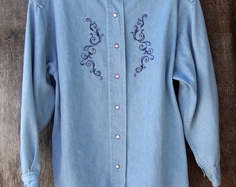 STUDDED DENIM SHIRT embroidered denim studded pearl snaps hippie western unisex long sleeve sleeved The Limited size S