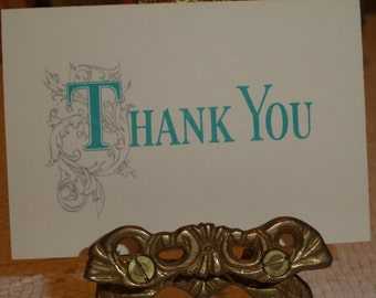 Vintage 1960s Unused Miniature THANK YOU Greeting Card with Turquoise and Silver Lettering