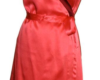 SALE. Colorblocked Silk Wrap Dress in Coral & Burgundy. Kimono Style Party Dress, Valentine, Festive.