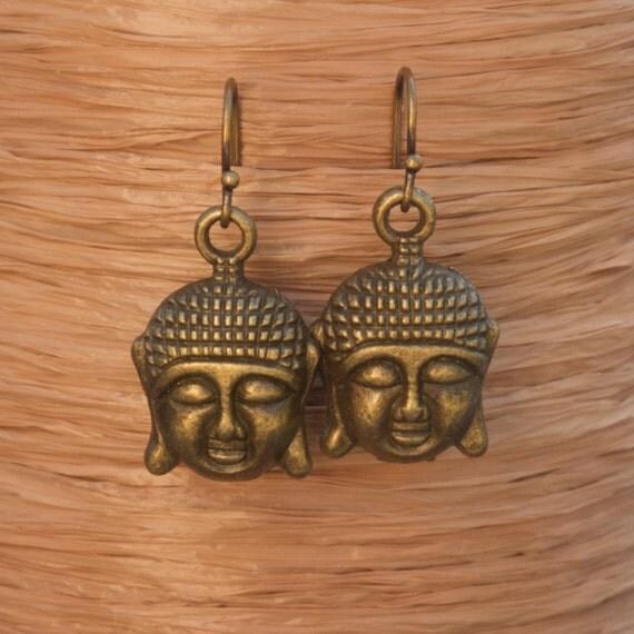 Buddha Earrings, Antique Bronze Buddha Earrings, Yoga Earrings, Yoga Jewelry, Buddha Jewelry, Yoga Gift, Buddhist Earrings