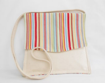 Medium Shoulder Crossover Bag Multi Color Stripe