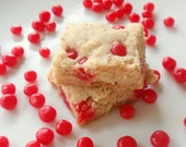 Red Hot Cinnamon Shortbread Cookies - Valentine's Day Candy Cookies - Butter Spice Sugar Cookie Bars - BakeAllTheThings