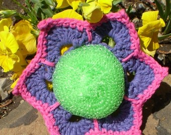 POSEY FLOWER Design Doublesided Mesh Netting SCRUBBIE with Cotton Yarn Border Non Abrasive Dish Cloth or Body Scrubber Bright Fun Colors