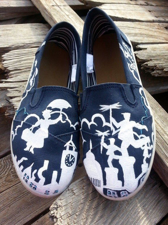 Disney Mary Poppins Handpainted Custom Toms
