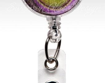 Peacock Feather , Designer Retractable ID Badge Holder, Name Badge Holder, Unique Retractable ID Badge Holder, Name Badge Clips 168