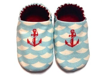 Nautical Baby Boy Shoes, 0-6 mos. Baby Booties, Soft Sole Shoes, Crib Shoes with Anchors, Slip on Baby Shoes, Sailor Shoes, Baby Boy Gift