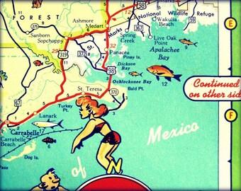 Retro Beach Map, vintage map of GULF COAST Big Bend Hwy 98 retro Florida beach decor 16x20 retro beach wall art, vintage illustrated map art