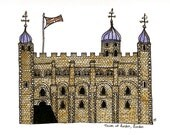 """London Print Drawing , Tower of London, illustration brown blue white wall art home decor - Size A4/ 8,27"""" x 11,7"""" UNFRAMED"""