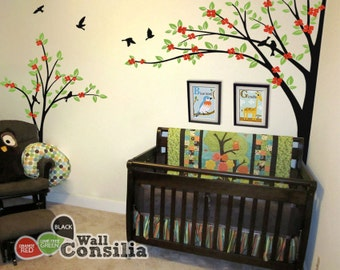 Tree Wall Decal - Nursery Wall Decoration - Tree Wall Sticker - Corner Tree  decal - Set of Two
