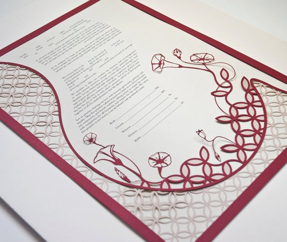 Papercut Ketubah - Double Wedding Ring Garden - Jewish Wedding - Eco-conscious