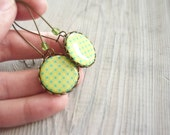 SALE Blue Mint polka dots earrings, gift for girl