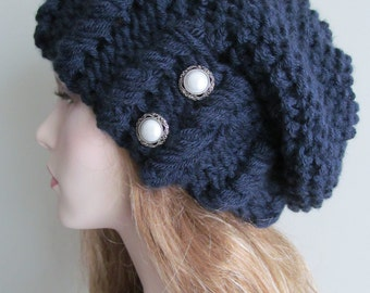 Oversized Slouchy Beanie Slouch Hats Baggy Beret Pearl Buttons womens fall winter accessory Chunky Hand Made Knit