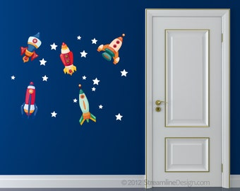 Printed Rockets with Stars Removable Matte Vinyl Wall Art - Set One outer space kids toys retro play room decor spaceship childrens decals