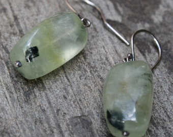 Prehnite Earrings, Clearance, 40% off, Sterling Silver, Mint Green Jewelry, Stone Earrings, Prehnite Jewelry