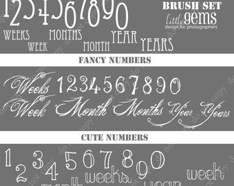Numbers and Dates Photoshop Brushes/ Overlays for Photographers / chalk/ Clip Art / Stamps / Digital Scrapbooking