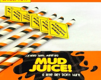 12 Construction Party Straws & Mud Juice Drink Wrappers