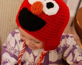 Elmo Hat - Crochet Elmo Hat - Sesame Street Hat