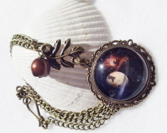 Glass cabochon planet pendant with bronze accents and fresh water pearl