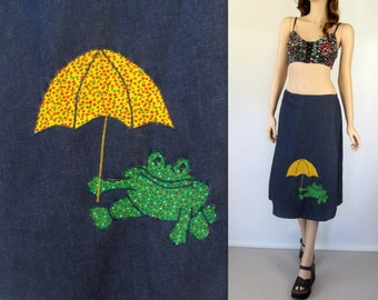Hippie Wrap Skirt with Frog 60's Skirt 70's Skirt Hippie Skirt Boho Skirt Vintage Wrap Skirt 60's Hippie Skirt A Line Skirt Denim Skirt A2
