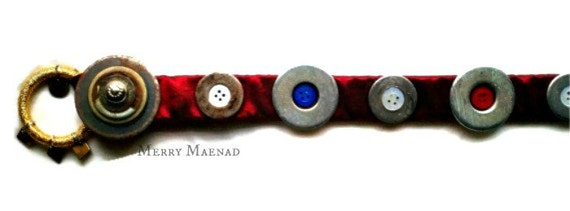 OOAK Red taffeta belt with multicolor buttons & upcycled steel hardware. Tribal Fusion belt base.