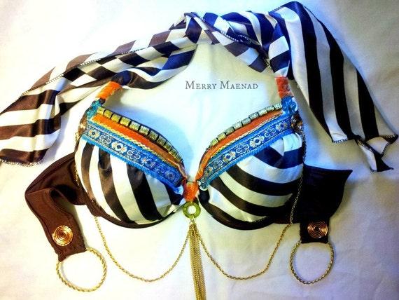 Brown Stripe Tribal Fusion Belly Dance Bra size 34-36 B. OOAK handmade costume.