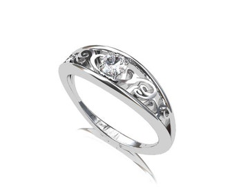 Diamond engagement ring, white gold, filigree ring, unique engagement, diamond wedding ring, solitaire, gold engagement