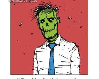 Melancholy Greetings - Zombie co-worker greeting card (blank inside)