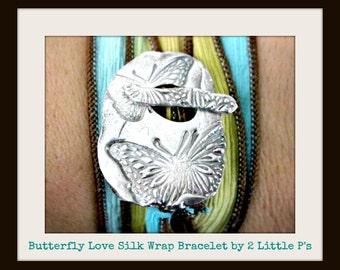 Silk Wrap Bracelet ~ Butterfly Love Artisan Silk Wrap Bracelet
