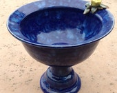 Cobalt Blue Pedestal Bowl with Yellow Rose, Tabletop Bird Bath, Fruit Bowl - Hand thrown, stoneware pottery - muddywaterscc
