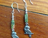 Earthy Owl Earrings -- Silver Owls with Unakite