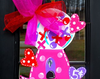 Valentine Door Hanger, Valentine Decor, Valentines Day Door Decor, Valentine Bubblegum