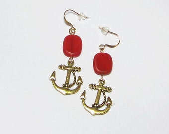 Earrings Anchor Nautical Coral Tone Earrings