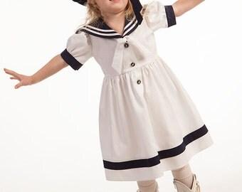 Girl sailor dress hat wedding party flower girl dress baby girl sailor outfit first birthday dress summer linen beach wedding nautical photo