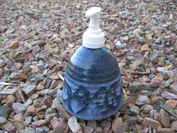 Soapstone Soap Pump,  Hand Lotion Pump with Hand Painted Cobalt Blue, Lotion Pump. Soap Pump