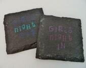 Girls Night Slate Coasters (Set of 4) Girls Night, Bachelorette, Wine Night, Birthday