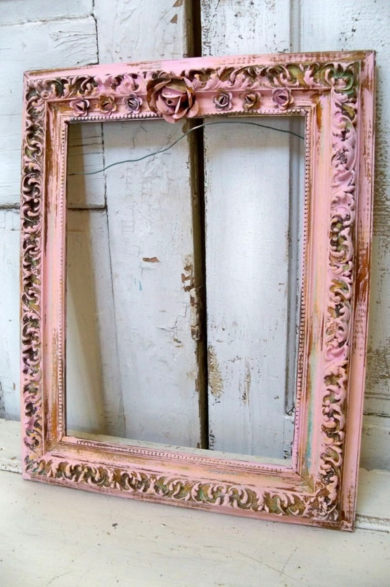 Pink Distressed Frame Large Wood Gesso Hand By