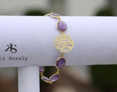 Amethyst Gemstone Bracelet with Monogram Initials (order any Initials) - Sterling Silver and 24K Gold