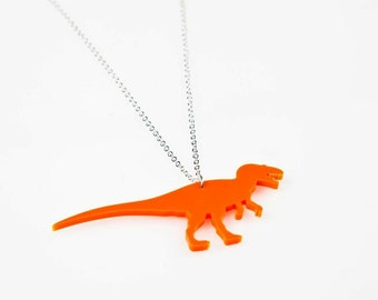 Dinosaur Medium T-Rex Necklace. Laser Cut Acrylic Dinosaur Necklace. Pendant Necklace. Statement Necklace. Dinosaur Jewellery for her.