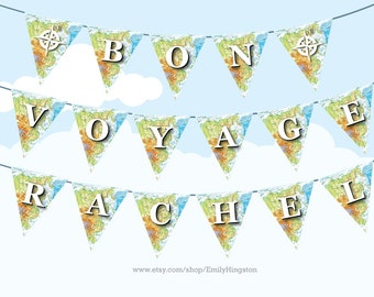 Personalized BON VOYAGE Map Bunting Large - Printable DIY Party Decoration - Farewell Party, Happy Travels, Travelling, Atlas, Explorer