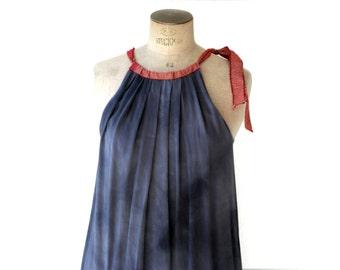 pleated grey silk dress, small to medium