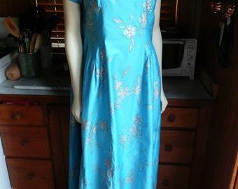 Vintage 50s 60s Elsie Krassas Turquoise Blue Silk Hawaiian Maxi Wedding Dress M
