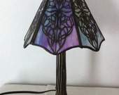 Stained Glass Lamp - Victorian Tulip Filigree Shade with Deep Bronze Tree Shaped Base
